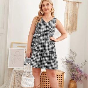 SHEIN Plus Size Frill Trim Boho Gingham Dress